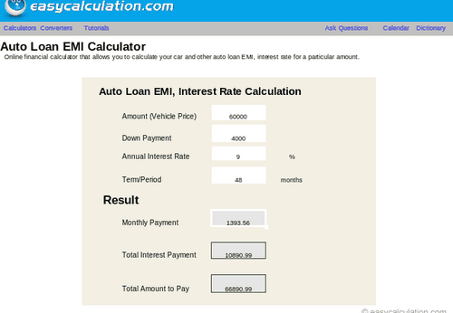 Auto Car Loan Emi Calculator Archives Best Rent A Car